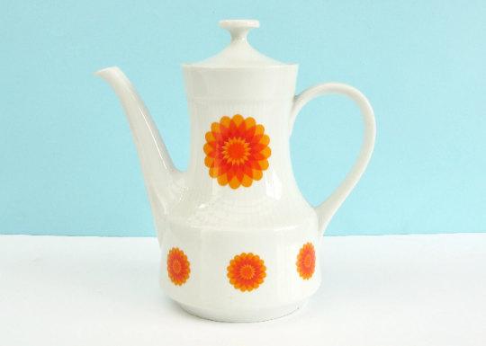 Vintage Mitterteich Coffee Pot 1970s Orange Flower Power