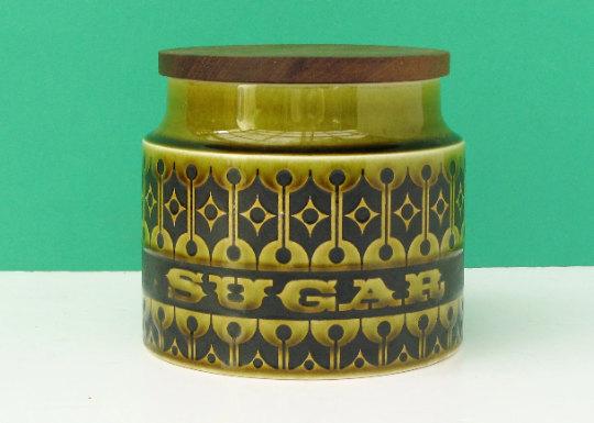 Vintage Hornsea Heirloom Green Sugar Storage Container