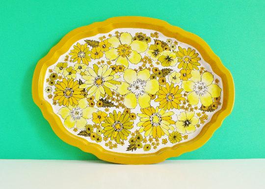 Vintage Baret Ware Tin Tray Yellow Flower Power
