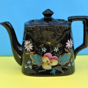 Antique Victorian Small Black Floral Teapot Hand Painted Jackfield Style