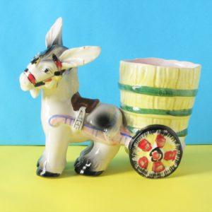 Vintage Kitsch Donkey Planter with Cart Italian Pottery 50s 60s
