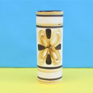 Vintage Cinque Ports Pottery Rye Small Vase Brown Hand Painted 70s