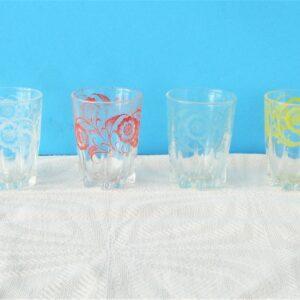 Vintage 50s 60s Shot Glasses x4 Multi Coloured Floral Mid Century