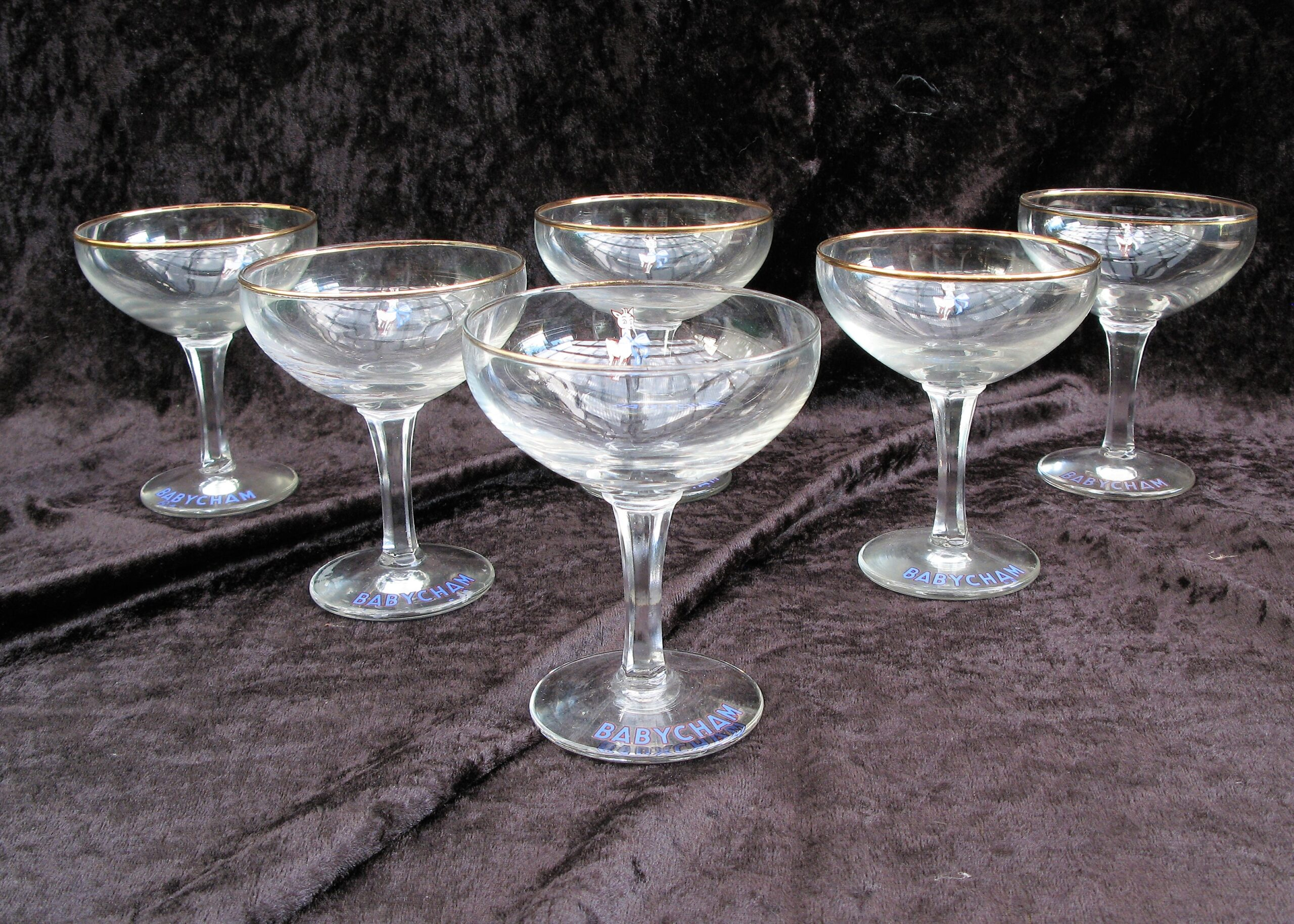 Vintage Babycham Glasses 1950s Set of 6 White Fawn