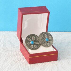 Vintage Boho Pewter Turquoise Clip On Earrings Hammered Metal Flower Design