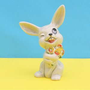 Vintage Cartoon Bunny Ornament Figurine Winking With Bunch Flowers 60s 70s