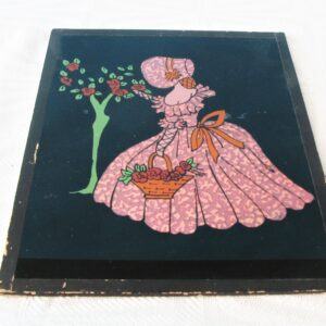 Vintage Crinoline Lady Cut Out Picture Pink Paper Under Glass 1940s