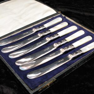 Vintage EPNS Butter Knives x 6 Boxed Mother of Pearl Handles