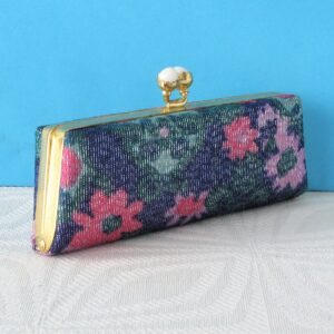 Vintage Glasses Case with Clasp Flower Power Blue Pink 60s 70s