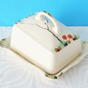 Vintage Ivory Ware Cheese Dish Large Hand Painted Floral 30s 40s