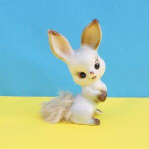 Vintage-Kitsch-Cute-Bunny-Ornament-Big-Eyes-Fluffy-Tail