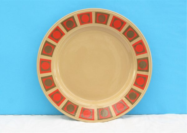 Vintage Retro Dinner Plate Red Brown Staffordshire Potteries 70s
