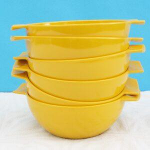 Vintage Retro Melaware Bowls Set of 6 Yellow Melamine 70s 80s