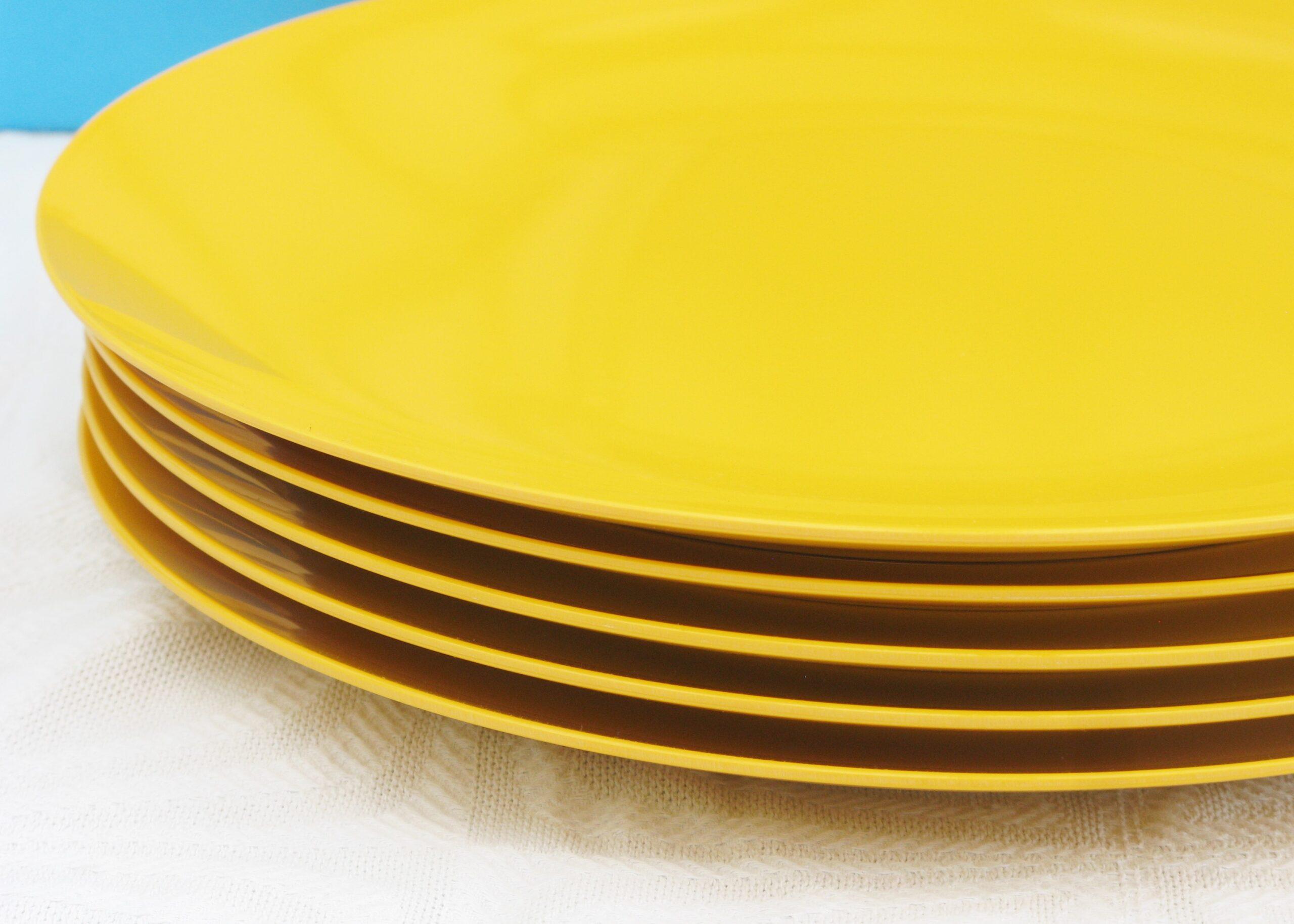 Vintage Retro Melaware Dinner Plates Set Of 6 Yellow 70s 80s Rachel S Vintage Retro