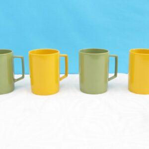 Vintage Retro Melaware Mugs Set of 4 Green Yellow 70s 80s