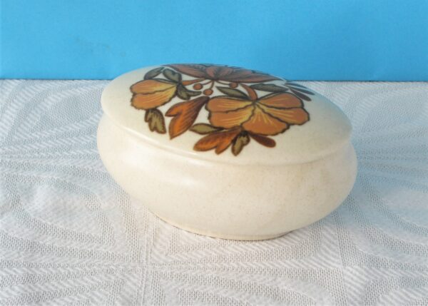 Vintage Retro Palissy Trinket Pot Brown Lotus Flower Stratford Series 1970s
