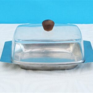 Vintage Retro Stainless Steel Butter Dish Perspex Lid 60s 70s