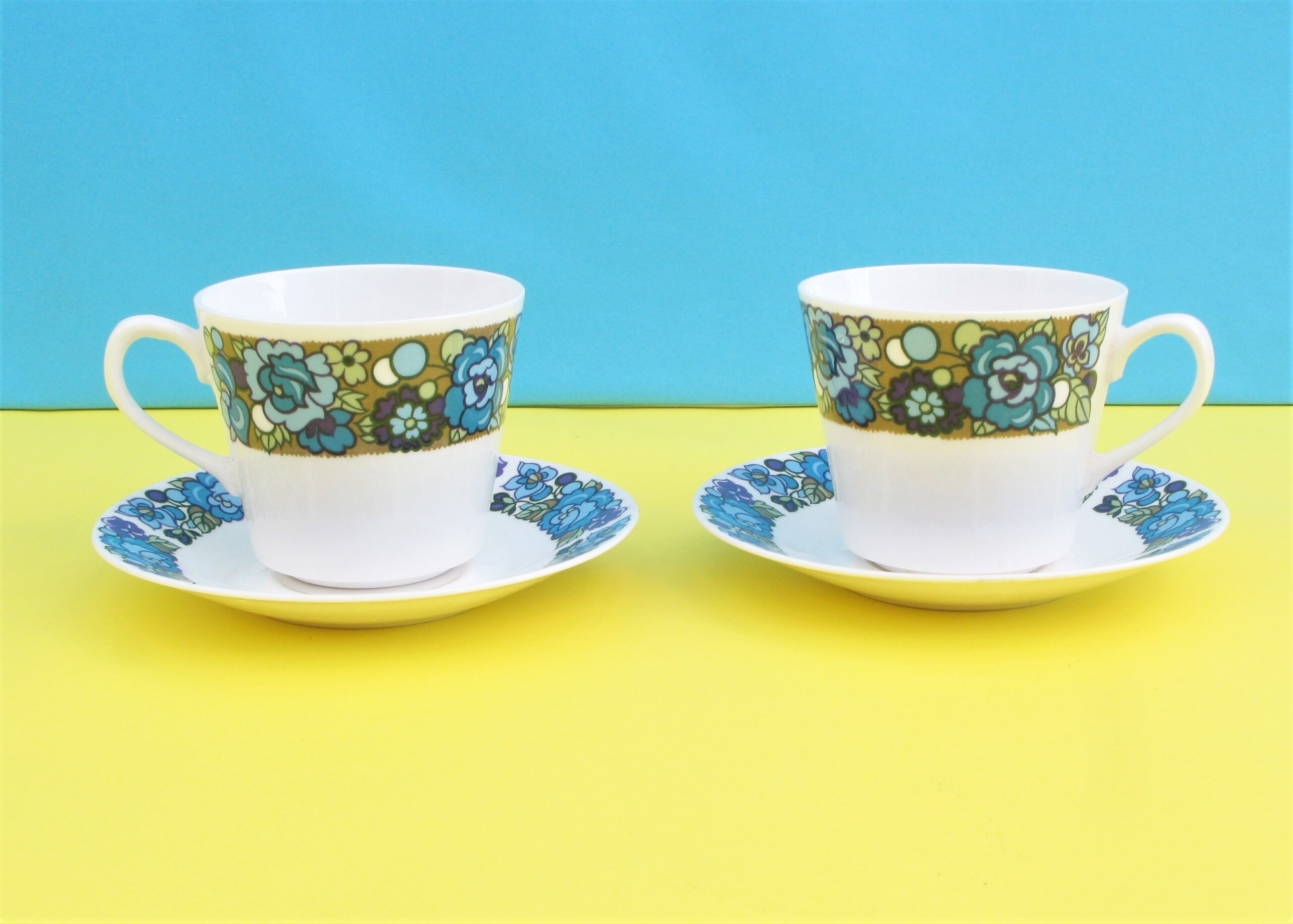 Vintage Ridgway Amanda Bone China Cups Saucers Set 2 60s 70s Rachel S Vintage Retro