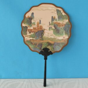 Vintage Style Chinese Circular Fan Court Qing Dynasty Replica Landscape Scene