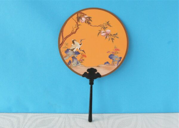 Vintage Style Chinese Circular Fan Court Qing Dynasty Replica in Orange with Crane