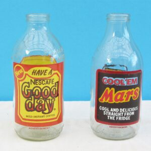 Vintage Advertising Milk Bottles 70s 80s Choose from Nescafe Coffee or Mars Chocolate