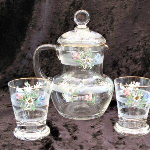 Vintage Bedside Water Set Jug Glasses Hand Painted Floral 1950s Wedding Gift