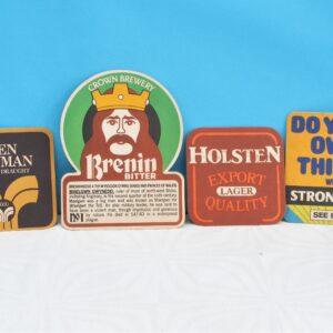 Vintage Beer Mats Holsten Strongbow Brenin Bitter Ben Truman Lager
