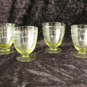 Vintage Etched Yellow Glass Footed Sundae Dishes Set of 4 Retro 1980s
