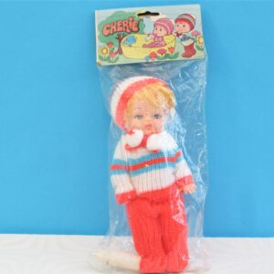 Vintage Hong Kong Toys Cherie Baby Doll With Knitted Outfit & Bottle 70s 80s