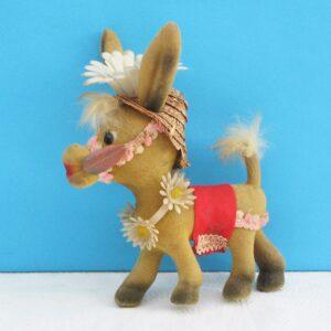 Vintage Kitsch Flock Donkey Ornament Toy Souvenir Carrot Daisies 60s 70s