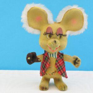 Vintage Kitsch Flock Mouse Toy Big Eyes Topogigio Inspired 60s 70s