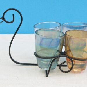Vintage Kitsch Shot Glasses x 4 Swan Duck Metal Holder 1960s Bar Accessories