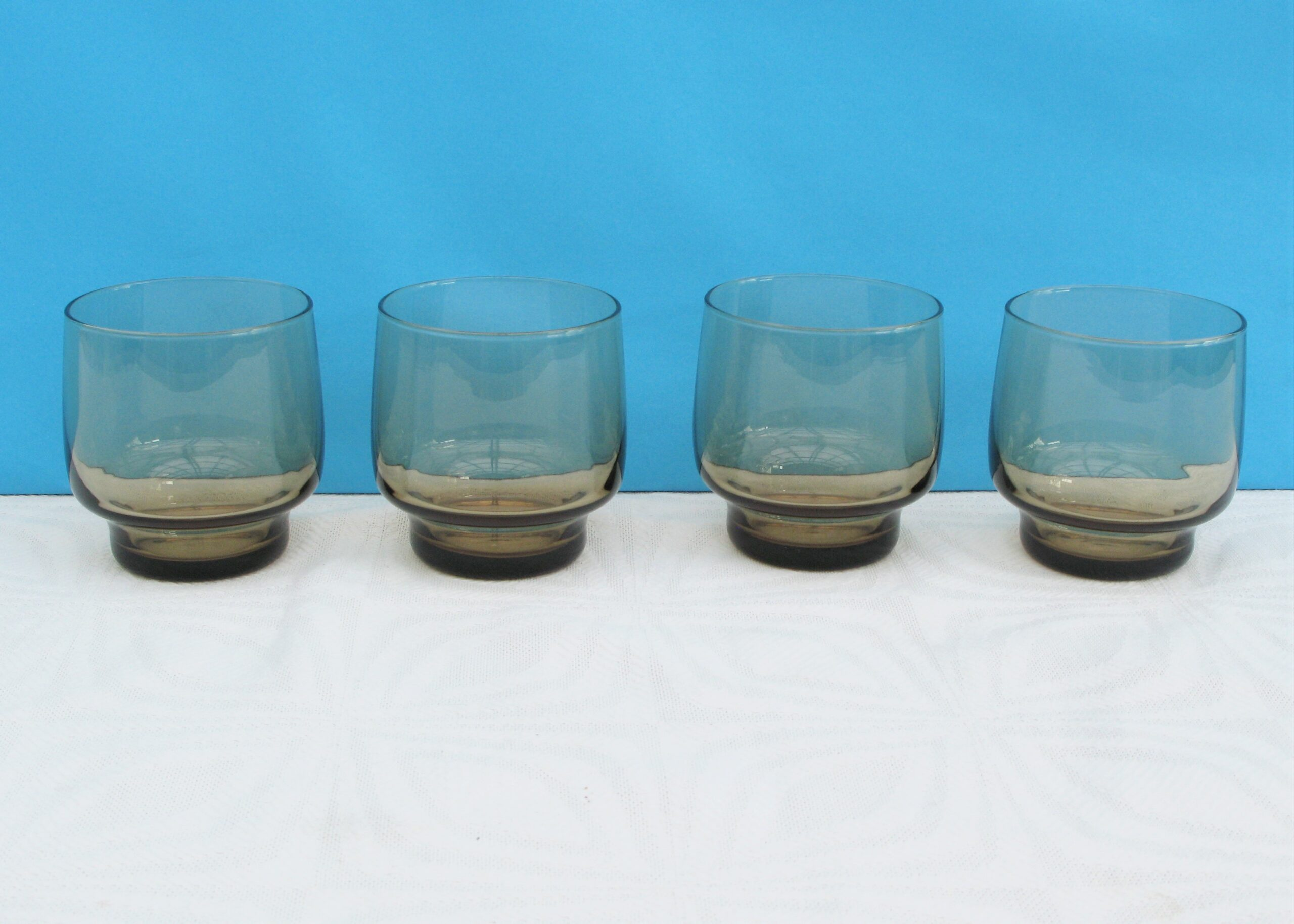 Vintage Smoked Glass Tumblers Water Glasses Set of 4 Luminarc 70s 80s
