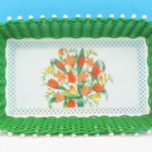Vintage Green Plastic Wicker Basket Smit & Co Red Tulips Spring Flowers 50s 60s