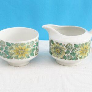 Vintage Pontessa Spain Milk Jug Sugar Bowl Green Flower Power 60s 70s