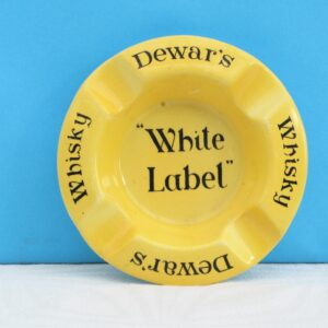 Vintage Pub Ashtray Dewars Whisky White Label Advertising Ceramic Yellow
