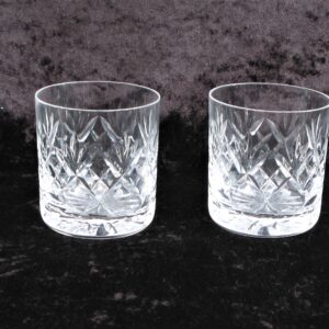 Vintage Royal Doulton Lead Crystal Whisky Glasses Small Pair Cut Glass Dimpled