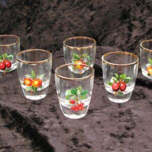 Vintage Kitsch Shot Glasses Set 6 Fruit Motif Design France 60s 70s