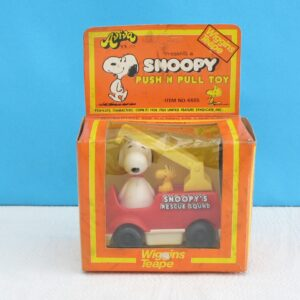 Vintage Snoopy Push Pull Toy Fire Engine