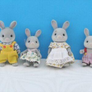 Vintage 80s Sylvanian Families Grey Rabbit Family of 4 1985