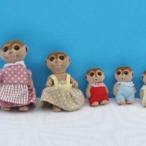 Vintage 80s Sylvanian Families Meerkat Family of 5 1985