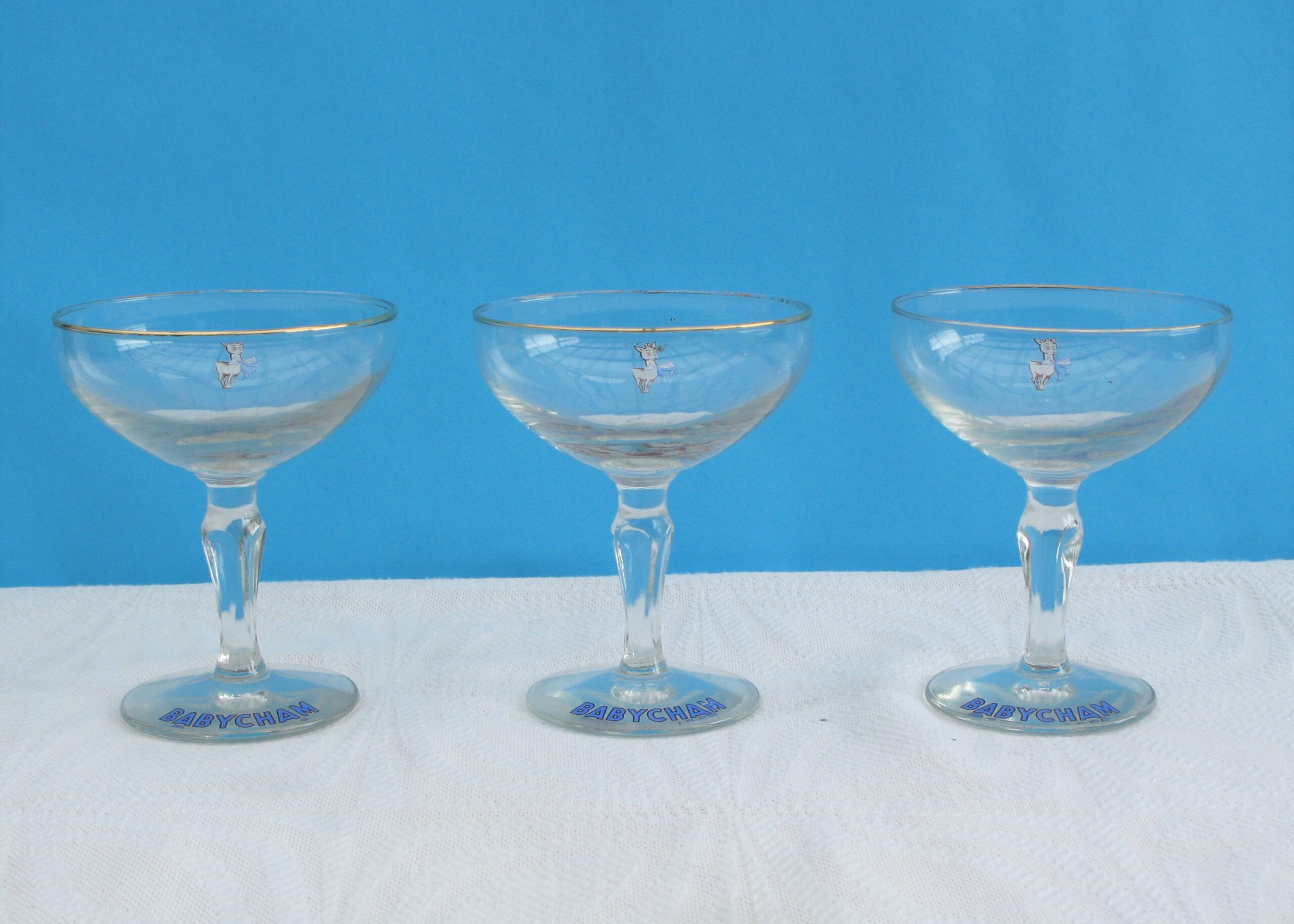 Vintage Rare Babycham Glasses 1950s White Fawn Hexagonal Stem - 3 Available