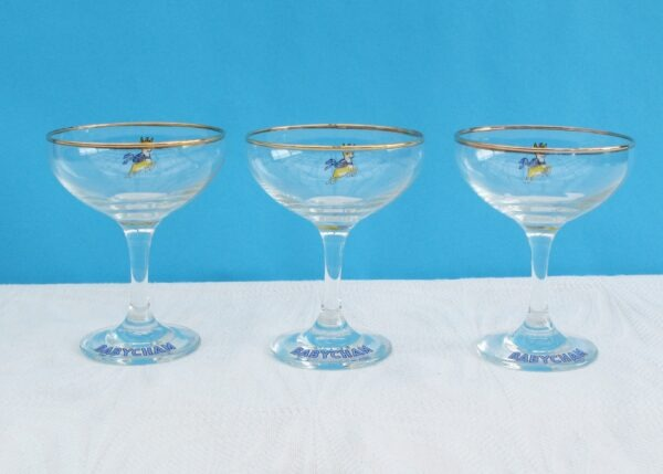 Vintage Babycham Glasses 1970s Yellow Leaping Fawn - 3 Available