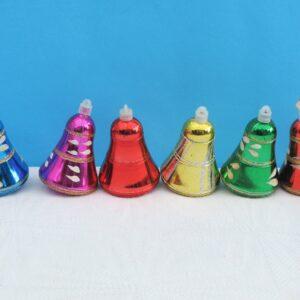 Vintage Christmas Tree Decorations Bells Baubles Multicoloured x6
