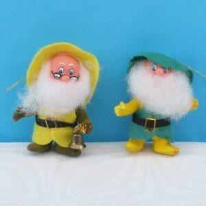 Vintage Christmas Tree Decorations x2 Flock Gnomes Elves 70s 80s