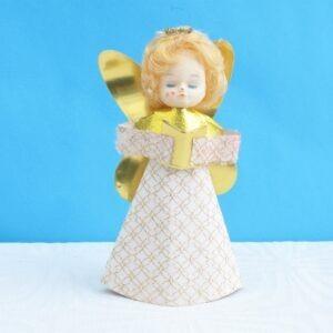 Vintage-Christmas-Tree-Fairy-Angel-Topper-Dolls-Head-Fair-70s-80s-Decorations