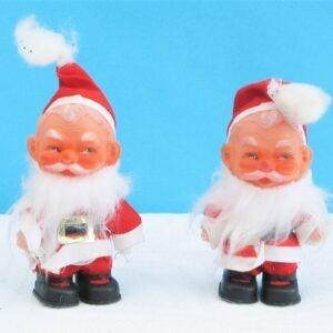 Vintage Dolly Santa Ornaments Pair 60s 70s Plastic Christmas-Decorations