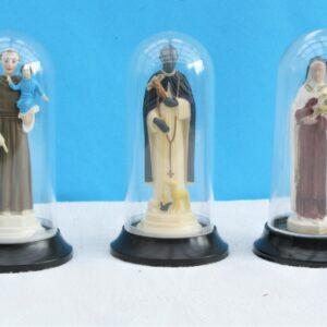 Vintage Domed Catholic Saints Ornaments x3 Small Catholic Kitsch