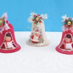Vintage-Flock-Bell-Santa-Snowman-Christmas-Tree-Ornaments-Decorations-60s