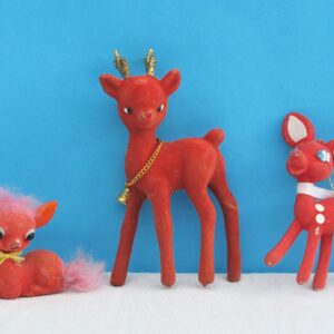 Vintage Red Flock Fawns Trio Christmas Decorations Ornaments 70s 80s